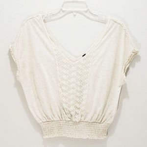 Free People Top Cream Embroidered Lace Deep V-neck